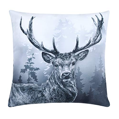 Deer Cushion Covers Couch 45x45cm Reindeer Elk Head Throw Pillow Cover Antler Forest Grey Pillow Cases Sofa Neutral Foggy Modern Art Vintage Wilderness Patterned Decorative Winter Gloomy Animal