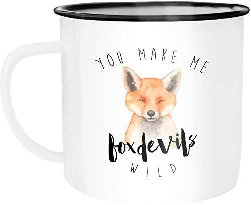 Moonworks Emaille Tasse Becher You make me foxdevilswild Denglisch Spruch Liebe verliebt Kaffeetasse Kaffeetasse weiß-schwarz unisize