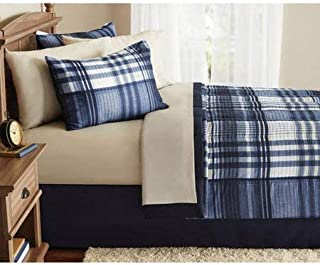 Mainstay` Indigo Plaid Bed-in-a-Bag Complete Bedding Set (King)