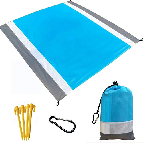 "Beach Blanket, Beach Mat Outdoor Picnic Blanket Large Sandproof Compact for 4-7 Persons Waterproof and Quick Drying Beach Mat Mady by Premium Nylon Pocket Picnic Sheet for Outdoor Travel ( 78"" X 81"")"