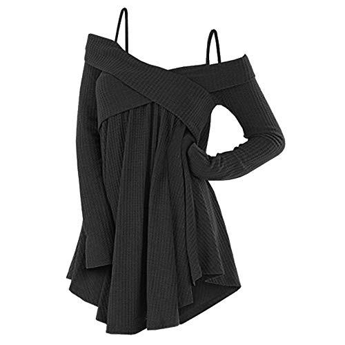 Rosegal Frauen Kalt Schulter Langarm Crossover Sweater Strickpullover Tunika Top (L, SCHWARZ)