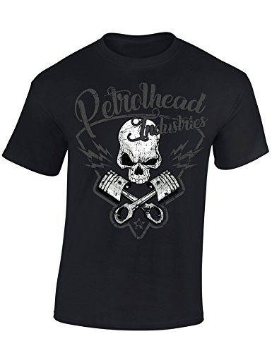 Petrolhead: Skull and Pistons - Camiseta Motor - Regalo Hombre - T-Shirt Racing - Camisetas Coches - Tuning - Moto - Coche - Car - Cafe Racer - Biker - Rally - JDM - Unisex (M)