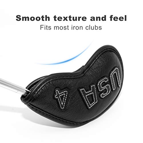 Golf Iron Covers,Golf Iron Head Covers Leather Golf Iron Covers Set 10pcs Golf Iron Headcovers,Golf Club Head Covers for Iron with Magic Tape Fit Titleist,Callaway,Ping,Taylormade USA Series