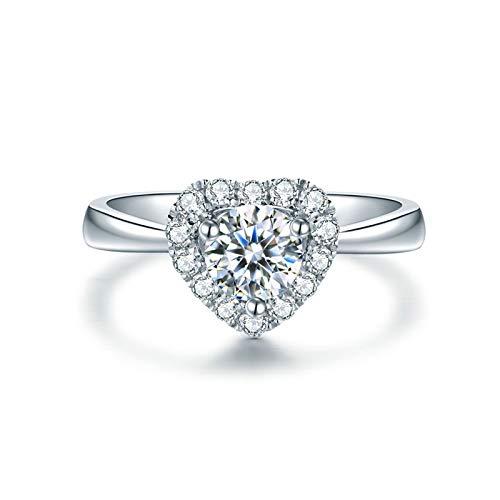 Daesar Anillos de Oro Blanco Mujer 18 K,Anillos de Plata Mujer Compromiso Corazón Diamante 0.4ct Anillo Talla 11