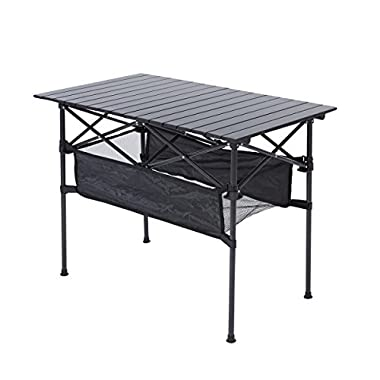 RORAIMA Easy Setup Portable Compact Aluminum Camping Folding Table with 120Lbs Capacity Great for Outdoor Camping, BBQ Suitable for Family of 4-6 Product Size 37.4 x19.7 x27.2  Black