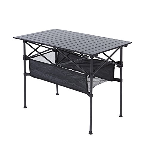 RORAIMA Easy Setup Portable Compact Aluminum Camping Folding Table with 120Lbs Capacity Great for Outdoor Camping, BBQ or Playing Cards Product Size 37.4'x19.7'x27.2' with Carry Bag Black
