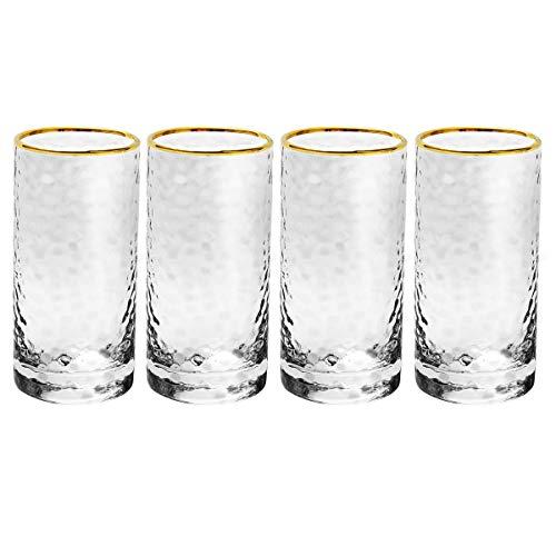 GOODFEER - Tazas de Cristal con Borde Dorado Transparente para Bebidas, Whisky o Cerveza, Vidrio, como Indica la Imagen, 315ml-4