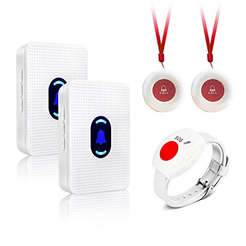 Wireless Call Button for Caregiver Pager Personal Life Alert Home Pager System for Elderly Seniors Patient Nurse Medical Call Bell 2 Receiver & 3 Panic Emergency Button