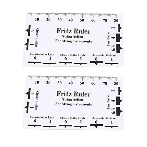 POHOVE 2 reglas de acción de cuerda, medidor de regla de acción de cuerda, tarjeta de medición de guitarra Luthier universal para guitarra eléctrica bajo guitarra acústica calibre de altura