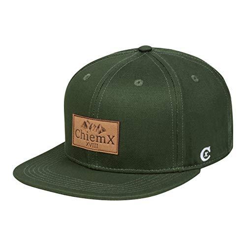 ChiemX Snapback Cap - Grün/Dunkelgrün/Oliv-grün - aus Baumwolle und mit Kunstlederpatch - One Size Kappe für Herren und Damen