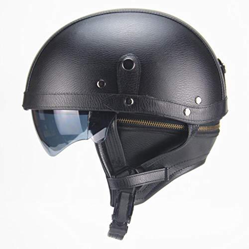 ZHEN Cascos Abiertos para Moto,Retro Cascos Abiertos para Moto con Gafas De Protección, Cuero Hecho A Mano Cascos Jet Half-Helmet Cascos De La Motocicleta Scooter Motoneta
