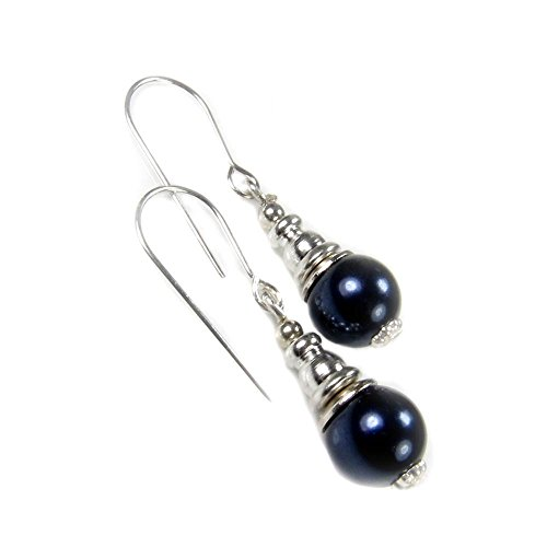 Sterling Silver Dark Navy Blue Pearl Short Drop Earrings for June Birthstone