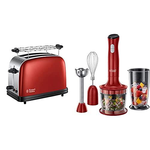 Russell Hobbs Toaster Colours+ rot, 2 extra breite Toastschlitze, inkl. Brötchenaufsatz, 1670W & Stabmixer 3-in-1 Desire, BPA-freies & spülmaschinenfestes Zubehör