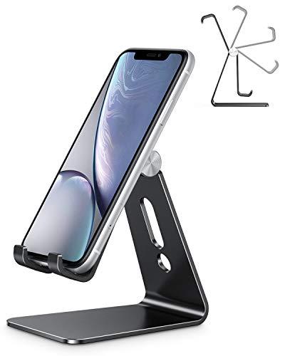 OMOTON Handy Ständer, Phone Stand kompatibel mit iPhone SE 2020/11 pro max/11 pro/XR/11/Xs/8/8 Plus/7/7 Plus, Multi-Winkel Handyhalterung für Huawei, Samsung, andere Smartphone, Schwarz