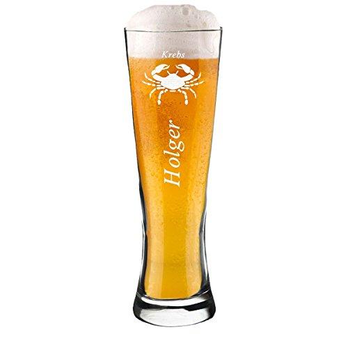 polar-effekt Modernes Weizenbierglas Personalisiert 0,5l mit Sternzeichen Gravur Krebs und - Geschenk-Idee zum Geburtstag