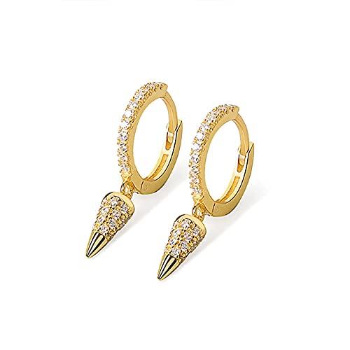 DFDLNL Pendientes de aro con Forma de Cono para Orejas para Mujer, Regalos geométricos de Oro y Plata, Color Dorado