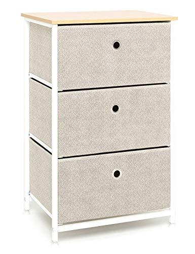 Suhu Kommode Schmal Schrank mit 3 Schubladen aus Stoff Beistelltisch Nachttisch Bad Schränke Metall für Küche Wohnzimmer Schlafzimmer Büro Flur Stahl+Holz Weiß+Beige