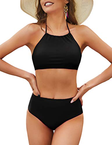 Naggoo Womens Bikini Set Solid High Wiated Bathing Suits Halter Swimsuits Black Large