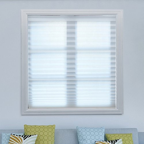 Acholo Pleated Fabric Shades Temporary Cordless Blinds Light Filtering for Windows (3-Pack, White 48 x 72 Inch)