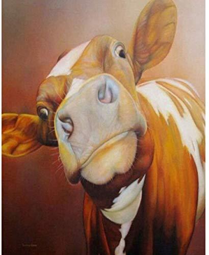 Jkykpp schilderij op nummers, voor volwassenen, bruine koeien, diermotief, voorgedrukt op canvas, met kwast en frame, acrylpigment van hout, 40 x 50 cm