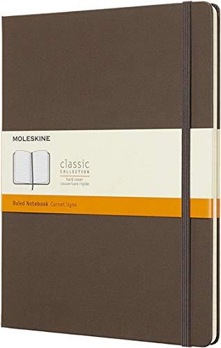 Moleskine Notebook Classic- Copertina Rigida - Taccuino a Pagine Rigate, X-Large, Marrone (Terra)