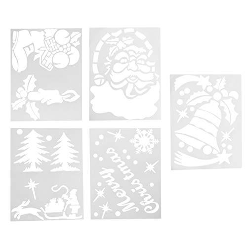 Amosfun 5 stks Kerstmis Herbruikbare Kunststof Craft Tekenen Sjabloon Sneeuwvlok Spray Vorm Kerstmis Decoratie benodigdheden