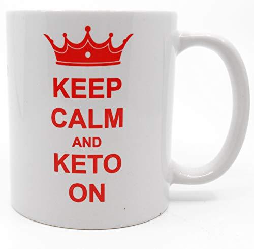 Keto Mug Keep Calm & Keto On Coffee Mug Gift Tea Beverage Cup Novelty Gag Humorous Funny
