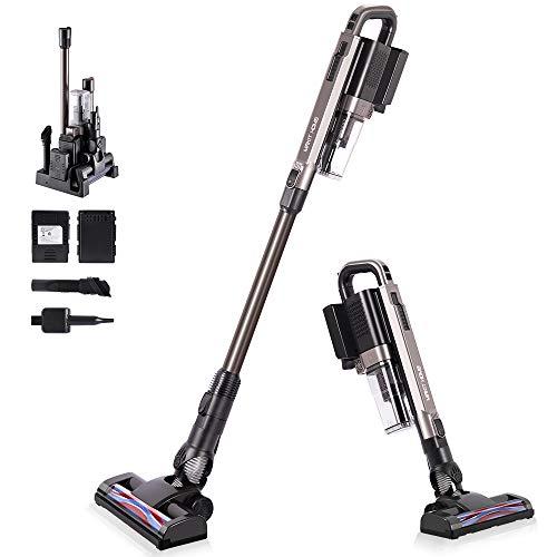CordlessVacuumCleanerRechargeable,21KpaCordlessStick Vacuum Cleaner,Lightweight, Ultra-Quietwith2Battery250W Motor 90MinLong-LastingVacuumforHardwoodFloor CarpetCarPetHair
