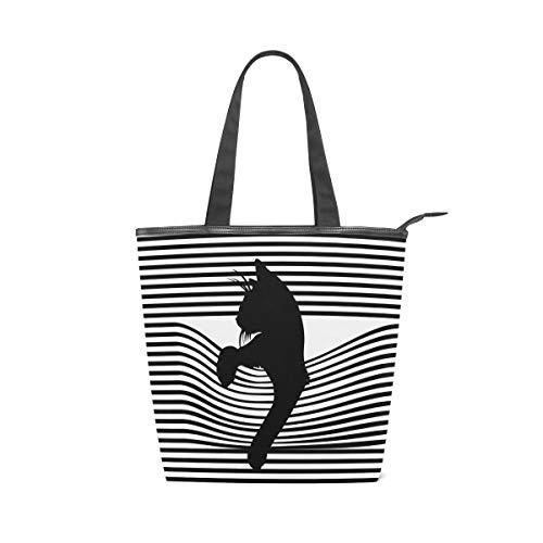 Mnsruu Grand sac à main en toile, sac de plage, sac de voyage, sac de courses, mignon chat noir avec rayures, sac à main d'été pour femme et fille