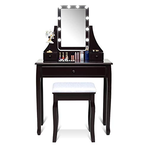 CHARMAID Vanity Set with Lighted Mirror, Makeup Dressing Table with 10 LED Dimmable Bulbs, Touch Switch, 3 Drawers 2 Dividers, Modern Bedroom Makeup Table with Cushioned Stool for Women Girls (Brown)