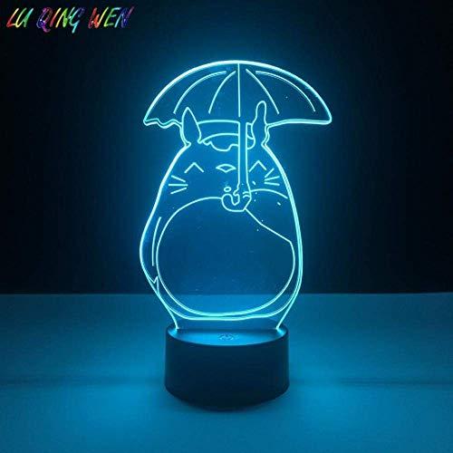 3D Illusionslampe Led Nachtlicht Nette Kinder Mein Nachbar Totoro für Babybett Schlafzimmer Baby Geschenk Totoro Regenschirm Tischlampe Beste Geburtstagsfeiertagsgeschenke für Kinder