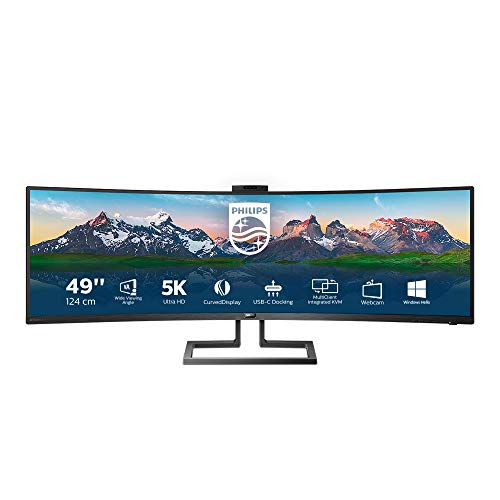 Philips Monitor Curvo 49 , Gaming Superwide 32:9, Risoluzione 5120x1440, Adaptive Sync, HDR 400, Multiview con KVM Switch Integrato, Webcam a Scomparsa, Regolazioni Ergonomiche, Low Blue, Vesa, Nero