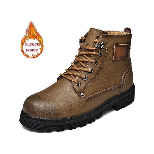 Men Männer Arbeitssicherheit Stiefel mit Furring Futter echtes Leder-Tip weiche Schuhe (Furring Futter Optional) (Color : Warm Khaki, Größe : 44 EU)