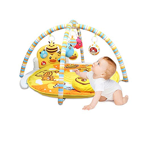 ZXYWW Baby Gym Kick and Play Actividad para Piano, Little Yellow Duck Pedal Piano Baby Round Gym, Newborn Baby Music Game Blanket Toy