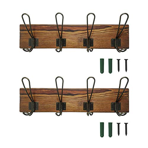 Rustic Coat Rack Wall Mounted, Solid Wooden Coat Hook Rack...