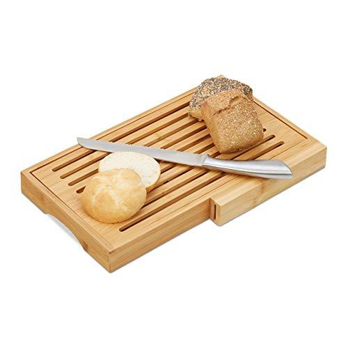 Relaxdays Tabla Cortar Pan con Recogemigas y Cuchillo, Bambú y Acero Inoxidable, Marrón, 4 x 40 x 24 cm