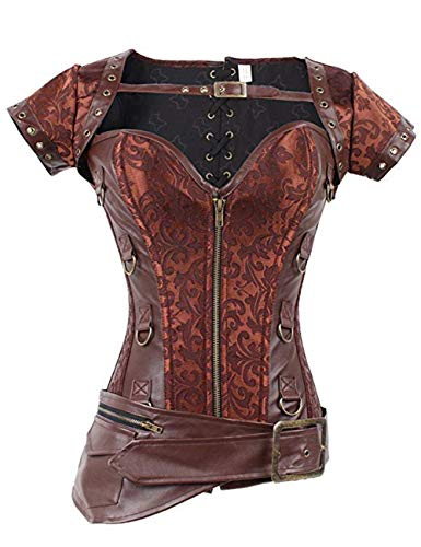 FeelinGirl Damen Korsett mit Stahlstäbchen - Brokatmuster - Retro/Gothic/Steampunk-Stahl ohne Knochen, Rot 1, XL(EU 40)