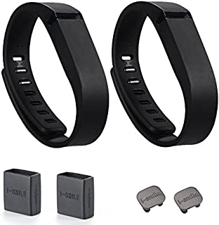 I-SMILE 2pcs Replacement Bands with Metal Clasps Wireless Activity Bracelet Sport Wristband for Fitbit Flex(No Tracker, Replacement Bands Only) & Silicon Fastener Ring