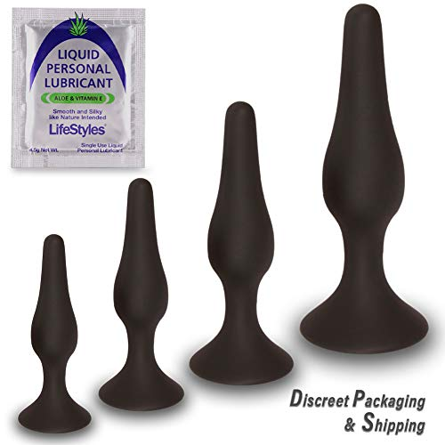 Anal Trainer Kit from Real Vibes - 4 Butt Plugs - Beginner Starter Set - Personal Lubricant - 100% Medical Grade Silicone - Hypoallergenic (Kit with 4.5g Lube)