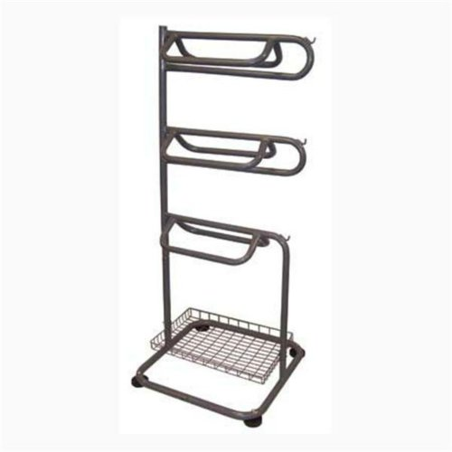 Saddle Rack Space Saving Rack Holds 3 Saddles, Pads, Bridals & Halters. Includes a Wire Basket for Horse Grooming Supplies.