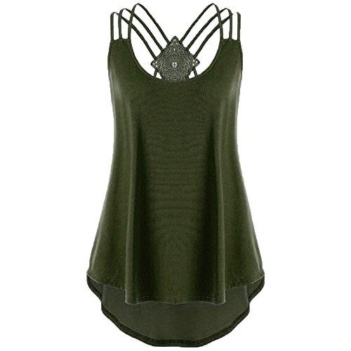 Kolila Sommer Weste Tops Sale Womens Einfarbig V-Ausschnitt zurück Cross Strap lose beiläufige ärmellose Tank Shirt Bluse