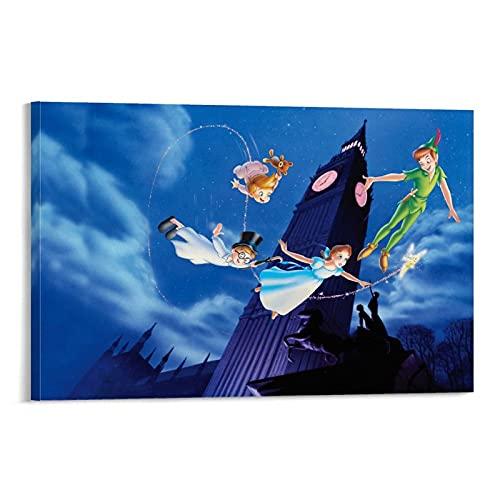 WEICHAO Póster y lienzo de cuento de hadas de Big Ben Peter Pan, impresión moderna para dormitorio familiar de 50 x 75 cm