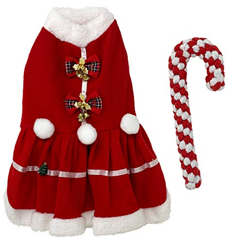 Dogs Jingle Bell Red Dress with Candy Cane Dog Rope Toy, Dog Apparel, Dog Outfits, Dog Shirts, Dog Clothes for Small Dogs Girl, Dog Clothing, Dog Onesie, Small Dog Costume, Small Dog Shirt (XL)