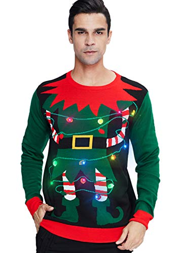 Women's Christmas Lights Elf Sweater Mens Best Ugly Xmas Clown Sweater Holiday Led Light Up Pullover Jumper Casual Green Tops for Fall Winter