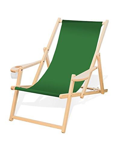 Holz-Liegestuhl mit Armlehne und Getränkehalter, Klappbar, Wechselbezug...