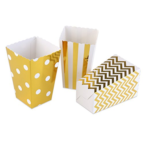 NUOLUX 50 Stück Popcorn-Boxen, Pappe Party Candy Container,Zufällige Farbe,12*7 CM