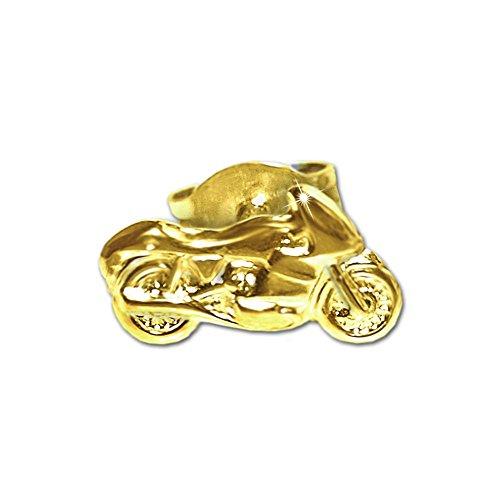 Clever Schmuck Goldener einzelner Single Ohrstecker Motorrad 9 x 5 mm nach rechts fahrend glänzend 333 GOLD 8 KARAT Lieferung von 1 Stück