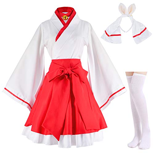 Japanese Anime red and White Kimono Fox Cosplay Costume with Socks Size S(Asia M)