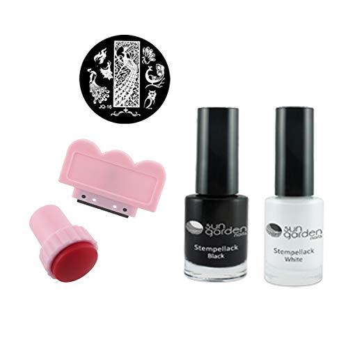 Stempelset, 2x Stempellack, Stempel - Scraper - Stempelschablone - Stamping Kit