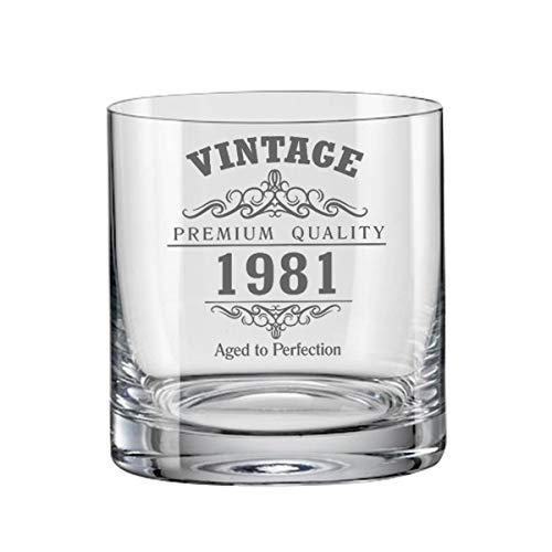 Vaso de whisky Bohemia vintage de 1981 40 cumpleaños
